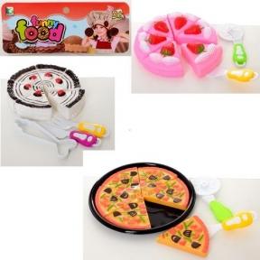 350-2-3  Продукты  сладости, торт, кухонный набор, 2 вида, в кульке, 21-25-4см