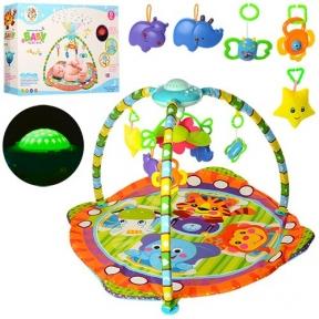 603  Коврик для младенца  95-95см,дуга,подвески 5шт,проектор,муз,св,на бат,в кор,56-38,5