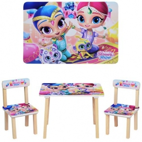 501-42  Столик деревянный, 60-40см, 2 стульчика, SHM