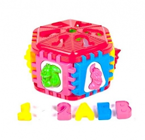 50-003  Сортер-шестигран  с  буквами и  животными