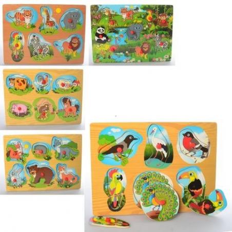 1309  Деревянная игрушка Рамка-вкладыш с ручкой,5вид(животные/птицы),в кульке,29,5-21