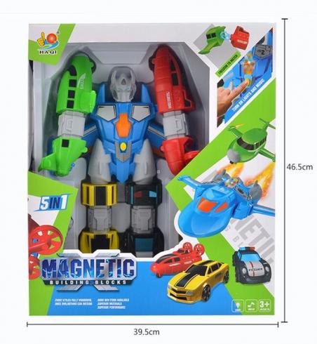 2260 А  Конструктор магнитный Мега робот трансформер, 5 машин + робот . Свет, Звук,