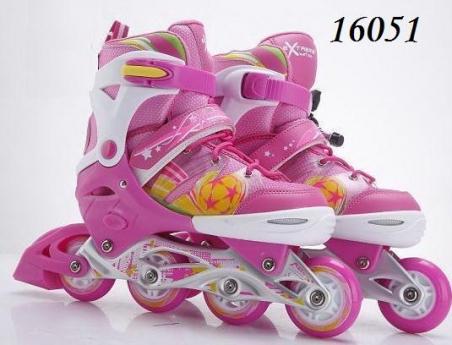 16051  розовые  Ролики RS16051 (6шт) р.L 39-42, металл.рама,колеса PU,1 свет,2 цвета