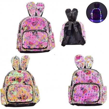0043  Рюкзак со светом  с ушками, в пайетках, 4 вида, 22*30 см