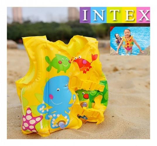 59661  Жилет INTEX с рыбками, 41-30см, 3-5 лет, в кульке, 24-16см 2