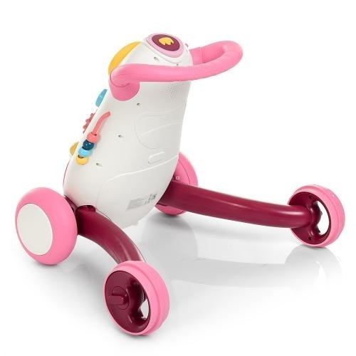 6820-8  Ходунки-толкатель  муз,свет,трещотка,шарики3шт,сортер,Розовый 0