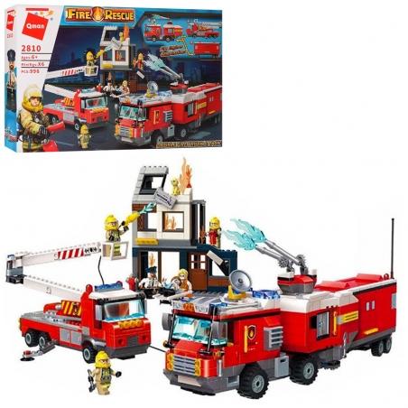 2810  Конструктор Qman  пожарн, здание, машины, фигурки,996дет,в кор-ке,62-40-8см