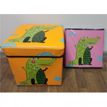 608  Корзина-сундук для игрушек 3 вида, с крышкой, в пакете 31*31*31см