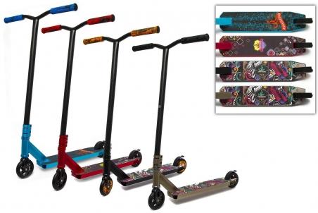 21029  Самокат трюковый 2-х колёсный, 4 цвета