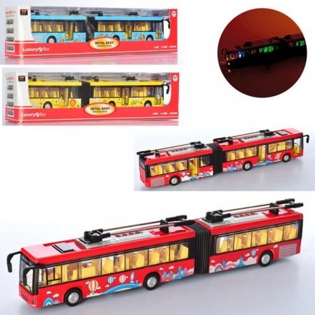 6015  Троллейбус металл,инерц,36см,муз-зв,свет,откр.двери,3цв,бат(табл),в кор-ке,40,5-10