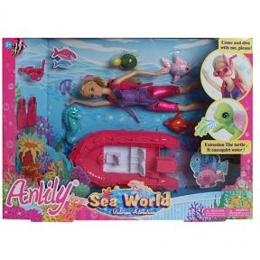 99041  Кукла 99041 (24шт) шарнирнкая, 28см, водолаз, лодка20см, морские животные, в кор-ке, 46-33-7с