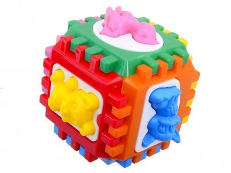 50-001 Логический  куб-сортер  с  вкладышами  14*14*14