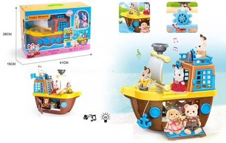 18-2  Животные флоксовые корабль,,2 фигурки, в коробке 41*28*15см