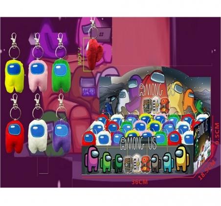 2299  Мягкая игрушка  AMONG US 7,5 см, 6 цветов микс, 24 шт в дисплей боксе 3