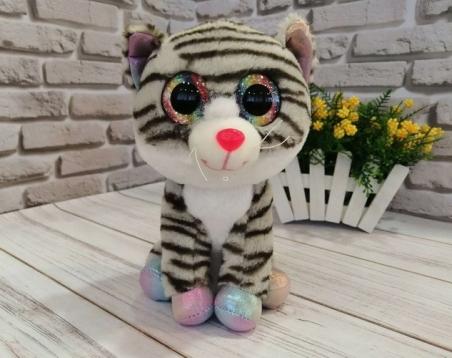 1025  Мягкая игрушка кошка глазастики 23 см