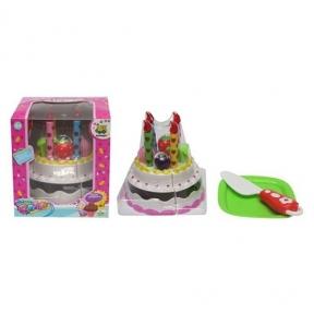 228-20-1  Продукты на липучке, торт, свечи, поднос, нож, в кор-ке, 10,5-11,5-10,5см