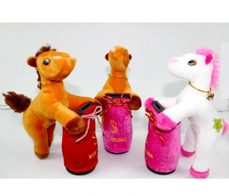 1337-1 лошадь-копилка музыкальная .20см 3цв.кул.ш.к