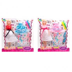 170-1  Кукла с нарядом  /30см,платье-раскраска,наклейки,маркеры,обувь, 2в,в кор,30-32